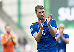 Hibs v St Johnstone…22.09.21  Easter Road.    SPFL<br />David Wotherspoon applauds the travelling saints fans at full time<br />Picture by Graeme Hart.<br />Copyright Perthshire Picture Agency<br />Tel: 01738 623350  Mobile: 07990 594431