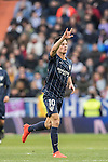 Juan Pablo Anor Acosta, Juanpi, of Malaga CF celebrates in action during their La Liga 2016-17 match between Real Madrid and Malaga CF at the Estadio Santiago Bernabéu on 21 January 2017 in Madrid, Spain. Photo by Diego Gonzalez Souto / Power Sport Images