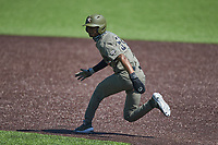Enrique Bradfield Jr. (51) of the Vanderbilt Commodores takes his lead off of first base against the South Carolina Gamecocks at Hawkins Field on March 21, 2021 in Nashville, Tennessee. (Brian Westerholt/Four Seam Images)