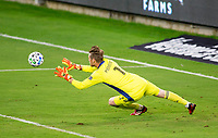 LOS ANGELES, CA - SEPTEMBER 23: Bryan Meredith #1 GK of the Vancouver Whitecaps dives for a save during a game between Vancouver Whitecaps and Los Angeles FC at Banc of California Stadium on September 23, 2020 in Los Angeles, California.