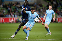 22nd May 2021, Melbourne, Australia;  Jamie Maclaren of Melbourne City controls the ball during the Hyundai A-League football match between Melbourne City FC and Central Coast Mariners at AAMI Park in Melbourne, Australia.
