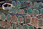 Great Britain, England, Northumberland, near Berwick-upon-Tweed: Lobster pots on harbour