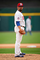 Buffalo Bisons relief pitcher Colt Hynes (14) looks in for the sign during a game against the Louisville Bats on June 23, 2016 at Coca-Cola Field in Buffalo, New York.  Buffalo defeated Louisville 9-6.  (Mike Janes/Four Seam Images)