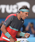 Rafael Nadal (ESP) defeats Grigor Dimitrov (BUL) 3-6, 7-6, 7-6, 6-2 at the Australian Open in Melbourne, Australia on January 22, 2014