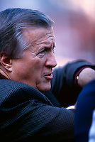 New York Yankees Owner George Steinbrenner watches batting practice before the 1998 World Series against the San Diego Padres at Qualcomm Stadium in San Diego, California. (Larry Goren/Four Seam Images)