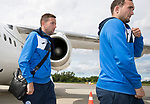 FK Trakai v St Johnstone…05.07.17… Europa League 1st Qualifying Round 2nd Leg<br />St Johnstone strikers Chris Kane and Steven MacLean step off the aircraft after landing in Vilnius, Lithuania<br />Picture by Graeme Hart.<br />Copyright Perthshire Picture Agency<br />Tel: 01738 623350  Mobile: 07990 594431