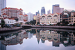 CLARKE QUAY REFLECTED IN SINGAPORE RIVER