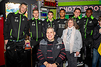 Pictured: (L-R) Erwin Mulder, Jake Bidwell, Tom Carroll, Rhian Brewster, Conor Gallagher and Marc Guehi of Swansea City during the Swansea player and fans bowling evening at Tenpin Swansea, Swansea, Wales, UK. Wednesday 22 January 2020