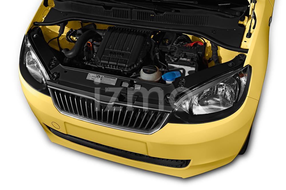 Car Stock 2016 Skoda Citigo Ambition 3 Door hatchback Engine  high angle detail view