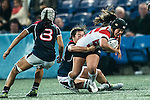 Saki Minami of Japan (r) in action during the Womens Rugby World Cup 2017 Qualifier match between Hong Kong and Japan on December 17, 2016 in Hong Kong, Hong Kong. Photo by Marcio Rodrigo Machado / Power Sport Images