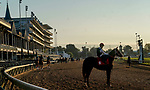 August 30, 2020: Horses exercise as preparations continue for the 2020 Kentucky Derby and Kentucky Oaks at Churchill Downs in Louisville, Kentucky. The race is being run without fans due to the coronavirus pandemic that has gripped the world and nation for much of the year. John Voorhees/Eclipse Sportswire/CSM