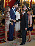 Princess Letizia of Spain, Prince Felipe of Spain, Queen Sofia of Spain, Juan carlos I King of Spain, the Secretary General of the Socialist Party (PSOE) Alfredo Perez Rubalcaba and his wife attend the Royal Palace reception on the National Military Parade.October 12,2012.(ALTERPHOTOS/Pool)