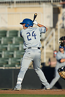 Colton Welker (24) of the Asheville Tourists at bat against the Kannapolis Intimidators at Kannapolis Intimidators Stadium on May 8, 2017 in Kannapolis, North Carolina.  The Tourists defeated the Intimidators 7-5.  (Brian Westerholt/Four Seam Images)