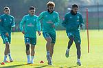 13.10.2020, Trainingsgelaende am wohninvest WESERSTADION - Platz 12, Bremen, GER, 1.FBL, Werder Bremen Training<br /> <br /> Aufwärmen vor dem Training<br /> Querformat<br /> Leonardo Bittencourt  (Werder Bremen #10)<br /> Joshua Sargent (Werder Bremen #19)<br /> Kevin Möhwald / Moehwald (Werder Bremen #06)<br /> Maximilian Eggestein (Werder Bremen #35)<br /> <br /> <br /> <br /> Foto © nordphoto / Kokenge