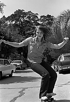 Actress Jodie Foster, age 14, skateboarding near her home in Los Angeles, June, 1977. Photo by John G. Zimmerman. P94427-C08-F19A.