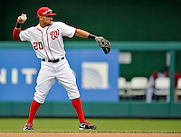15 May 2012: Washington Nationals shortstop Ian Desmond warms up prior to facing the San Diego Padres at Nationals Park in Washington, DC. The Padres defeated the Nationals 6-1 to split their 2-game series. Mandatory Credit: Ed Wolfstein Photo
