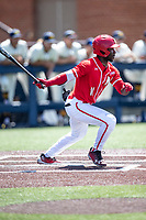 Maryland Terrapins outfielder Chris Alleyne (11) follows through on his swing against the Michigan Wolverines on May 23, 2021 in NCAA baseball action at Ray Fisher Stadium in Ann Arbor, Michigan. Maryland beat the Wolverines 7-3. (Andrew Woolley/Four Seam Images)