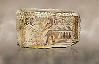 Ancient Egyptian stele showing Iti & Neferu receiving food offerings, First Intermediate Period, (2118-1980 BC), Gebelein, Tomb of Iti & Neferu,  Egyptian Museum, Turin. Schiaparelli cat 13114.