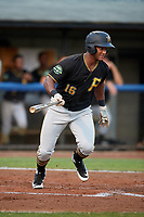 Bristol Pirates designated hitter Jeremias Portorreal (16) follows through on a swing during the second game of a doubleheader against the Bluefield Blue Jays on July 25, 2018 at Bowen Field in Bluefield, Virginia.  Bristol defeated Bluefield 5-2.  (Mike Janes/Four Seam Images)