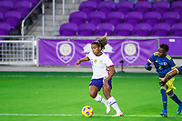 ORLANDO, FL - JANUARY 18: Catarina Macario #29 of the USWNT dribbles the ball during a game between Colombia and USWNT at Exploria Stadium on January 18, 2021 in Orlando, Florida.