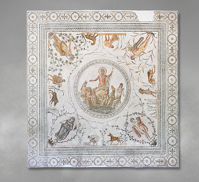 Roman mosaic panel of the Triumph of Neptune and  the mytrhical legend of The Four Seasons. From the private baths at Caput Vada (La Chebbs). End of the reign of Antoninus Pius, 138-161 AD. From Cheba, Tunisia.  The Thugga Room of The Bardo Museum, Tunis, Tunisia. Grey background