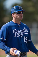 Kansas City Royals coach Scott Thorman (19) walks back to the third base coaches box during an Instructional League game against the San Francisco Giants at the Giants Training Complex on October 17, 2017 in Scottsdale, Arizona. (Zachary Lucy/Four Seam Images)