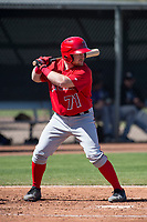 Los Angeles Angels second baseman Zane Gurwitz (71) during a Minor League Spring Training game against the Colorado Rockies at Tempe Diablo Stadium Complex on March 18, 2018 in Tempe, Arizona. (Zachary Lucy/Four Seam Images)