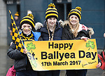 Ballyea  fans Ethan Haugh, Lucy Haugh and Abigail Haugh on Jones' Road before the All-Ireland Club Hurling Final against Cuala at Croke Park. Photograph by John Kelly.