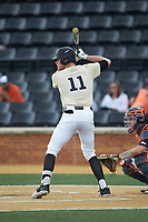 Shane Muntz (11) of the Wake Forest Demon Deacons at bat against the Virginia Cavaliers at David F. Couch Ballpark on May 19, 2018 in  Winston-Salem, North Carolina. The Demon Deacons defeated the Cavaliers 18-12. (Brian Westerholt/Four Seam Images)