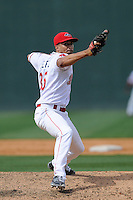 Pitcher Williams Jerez (35) of the Greenville Drive delivers a pitch in a game against the Hagerstorn Suns on Thursday, May 7, 2015, at Fluor Field at the West End in Greenville, South Carolina. Jerez was a second-round pick of the Boston Red Sox in the 2011 First-Year Player Draft. Greenville won, 4-0. (Tom Priddy/Four Seam Images)