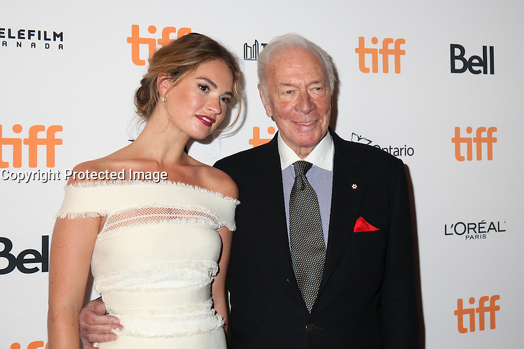 LILY JAMES AND CHRISTOPHER PLUMMER - RED CARPET OF THE FILM 'THE EXCEPTION' - 41ST TORONTO INTERNATIONAL FILM FESTIVAL 2016 . 15/09/2016. # FESTIVAL INTERNATIONAL DU FILM DE TORONTO 2016