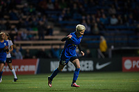 Seattle, WA - April 15th, 2017: Megan Rapinoe celebrates her goal during a regular season National Women's Soccer League (NWSL) match between the Seattle Reign FC and Sky Blue FC at Memorial Stadium.