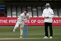 Jake Libby in bowling action for Worcestershire during Essex CCC vs Worcestershire CCC, LV Insurance County Championship Group 1 Cricket at The Cloudfm County Ground on 9th April 2021