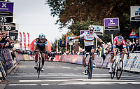 World Champion Julian Alaphilippe (FRA/Deceuninck-QuickStep) winning his first race in the rainbow jersey, although he nearly got pipped (again) on the line by Mathieu Van der Poel (NED/Alpecin-Fenix)<br /> <br /> 60th De Brabantse Pijl 2020 - La Flèche Brabançonne (1.Pro)<br /> 1 day race from Leuven to Overijse (BEL/197km)<br /> <br /> ©kramon