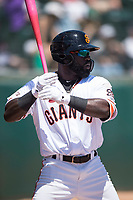 San Jose Giants left fielder Jacob Heyward (33) on deck during a California League game against the Lancaster JetHawks at San Jose Municipal Stadium on May 13, 2018 in San Jose, California. San Jose defeated Lancaster 3-0. (Zachary Lucy/Four Seam Images)