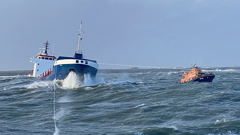 Dunmore East, Kilmore Quay and Rosslare Harbour RNLI, along with Rescue 117, conduct a joint rescue operation off the Wexford coast for the crew of the Cargo Vessel Lily B