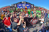 #18: Kyle Busch, Joe Gibbs Racing, Toyota Camry Interstate Batteries victory lane Toyota guests