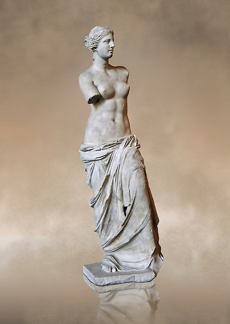 """Venus de Milo ( Aphrodite of Milos ) A 203cm (6ft 8in)  marble statue from the Greek Island of Milos sculpted in 130 and 100 BC thought to be the work of Alexandros of Antioch;. Louvre Museum, Paris. <br /> The Aphrodite of Milos was discovered on 8 April 1820 by a peasant named Yorgos Kentrotas, inside a buried niche within the ancient city ruins of Milos, the current village of Tripiti, on the island of Milos  in the Aegean, which was then a part of the Ottoman Empire. The statue was purchase by the French ambassador to Turkey and it was shipped to France. Legend has it that the statues arms were broken off during transport but this story however proved to be a fabrication – Voutier's drawings of the statue when it was first discovered show that its arms were already missing.<br /> <br /> In 1815, France had returned the Medici Venus,  to the Italians after it had been looted from Italy by Napoleon Bonaparte. The Medici Venus, regarded as one of the finest Classical sculptures in existence, caused the French to promote the Venus de Milo as a greater treasure than that which they recently had lost. The de Milo statue was praised dutifully by many artists and critics as the epitome of graceful female beauty. However, Pierre-Auguste Renoir was among its detractors, labeling it a """"big gendarme""""."""