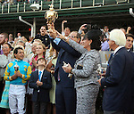 June 13, 2015 Ahmed Zayat of Zayat Stables accepts the Kentucky Derby winner's trophy for American Pharoah, who won the 2015 running of the first jewel of the Triple Crown at Churchill Downs.  ©Mary M. Meek/ESW/CSM