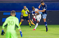 CARSON, CA - OCTOBER 18: Yony Gonzalez #11 of the Los Angeles Galaxy attempts a crossing ball as Ali Adnan #53 of the Vancouver Whitecaps defends during a game between Vancouver Whitecaps and Los Angeles Galaxy at Dignity Heath Sports Park on October 18, 2020 in Carson, California.