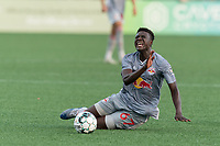 HARTFORD, CT - JULY 10: Omar Sowe #67 of New York Red Bulls II tackled during a game between New York Red Bulls II and Hartford Athletics at Dillon Stadium on July 10, 2021 in Hartford, Connecticut.