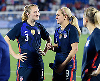 FRISCO, TX - MARCH 11: Samantha Mewis #3 and Lindsey Horan #9 of the United States talk after their win against Japan during a game between Japan and USWNT at Toyota Stadium on March 11, 2020 in Frisco, Texas.