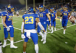 BROOKINGS, SD - MAY 2: Mark Gronowski #11 of the South Dakota State Jackrabbits celebrates his 67 yard touchdown run with teammates against the Southern Illinois Salukis at Dana J Dykhouse Stadium on May 2, 2021 in Brookings, South Dakota. (Photo by Dave Eggen/Inertia)