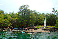 Kayakers resting at Captain James Cook monument at Kealakekua bay, the site where he was killed in 1779 As of 2013 a moratorium halting all kaying in the bay has been issued by the Dept. of Land and Natural Resources. This could be revoked at anytime.