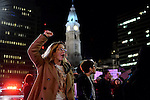 Kelly Gillin-Schwartz, of New Jersey, and Alexis Madarado, of South Philly, march at the head of the group as 1.000 protest the results of the 2016 U.S. Elections during a second consecutive day of Anti-Trump demonstrations in Center City, Philadelphia, PA.