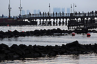 """Flood defences off a beach in northern Jakarta. According to the Climate Reality Project, """"Without flood protection measures, sea level rise could expose up to 6 million Indonesians to annual coastal flooding. The worst of the flooding would occur on the island of Java, where Jakarta is located."""""""