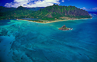 Aerial view of Chinaman's Hat ( Mokolii island) Haloa Ridge and Kaneohe Bay. Located along oahu's windward coast.