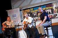 Rocker Bruce Springsteen (L), former US Poet Laureate Robert Pinsky (R) and WAMFest artist in residence and host John Wesley Harding, talk and perform at the 2010 literary and music festival WAMFest at Fairleigh Dickinson University, Madison, NJ, USA, 6 May 2010.