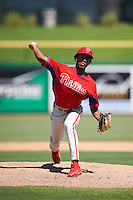 Philadelphia Phillies pitcher Adonis Medina (77) during an Instructional League game against the New York Yankees on September 27, 2016 at Bright House Field in Clearwater, Florida.  (Mike Janes/Four Seam Images)