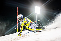 22nd December 2020, Madonna di Campiglio, Italy; FIS Mens slalom world cup race; Linus Strasser of Germany in action during his 1st run of mens Slalom